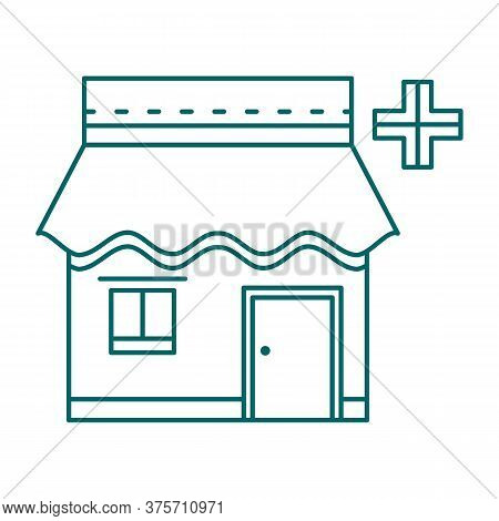 Facade Of Drugstore With Awning. Pharmacy Storefront. Single Flat Thin Line Style Vector Icon. Eleme
