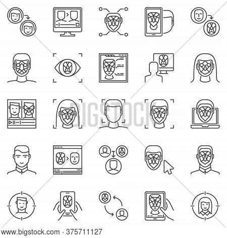 Face Recognition And Authentication Outline Icons Set. Vector Deepfake Technology Concept Symbols. F