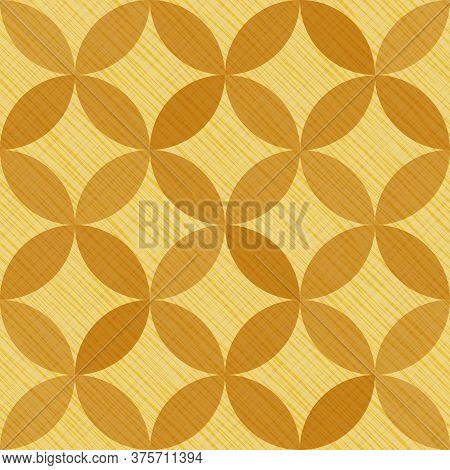 Interlacing Circles Parts Beautiful Seamless Vector Pattern. Guatrefoil Flower Brown Tessellation En