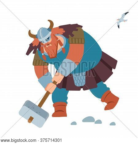 Viking. Crazy Strong Viking With Traditional Costume Attacking. Isolated On White Background. Vector