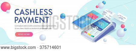 Cashless Payment Via Smartphone Isometric Abstract Banner Concept. 3d Payment Machine, Mobile Phone