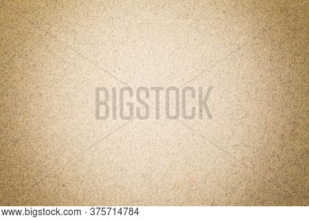 Texture Of Vintage Light Brown Paper Background With Matte Vignette. Structure Of Beige Kraft Cardbo