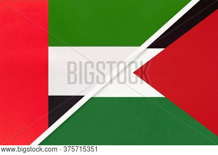 United Arab Emirates Or Uae And Palestine, Symbol Of National Flags From Textile. Relationship, Part