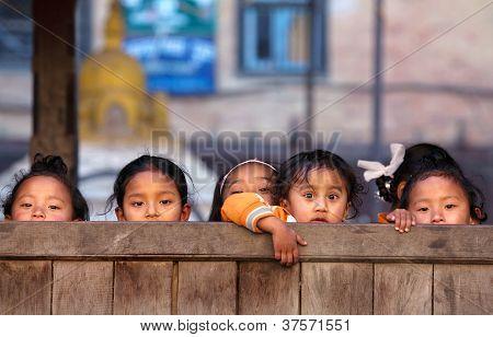 Group of Nepalese schoolgirls in Bhaktapur