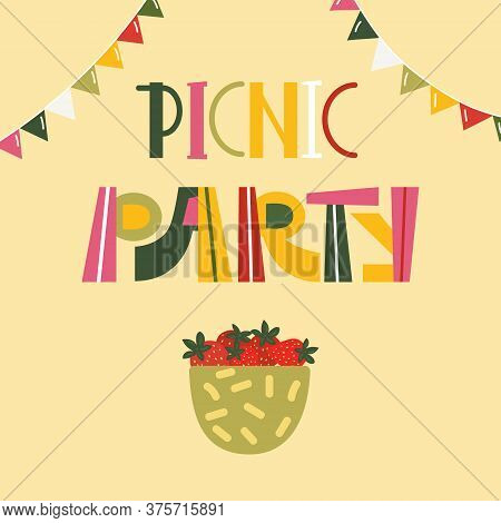 Poster With Text Picnic Party For Celebration Outdoors. Summer Holiday Card For Holiday On Nature