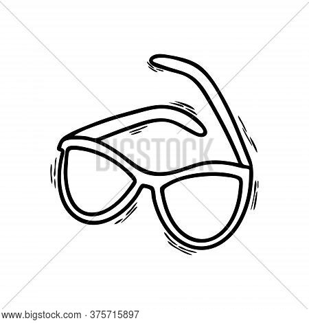 Illustration Of Doodle Glasses Isolated On A White Background. Sunglasses. Vision Protection. Glasse