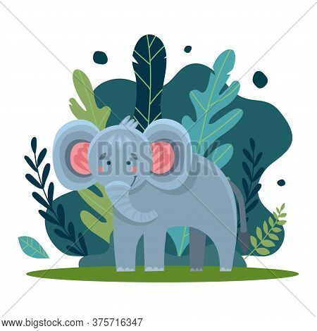 Vecton Illustration Of A Cute Elephant On A Background Of Moldings And Jungle Trees. Cute Cartoon An