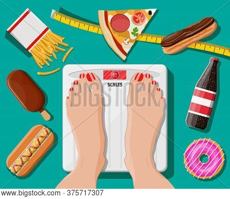 Overweight Woman Standing On Bathroom Scale, Fast Food On Floor. Pizza, Hotdog, Donut, Ice Cream, Fr