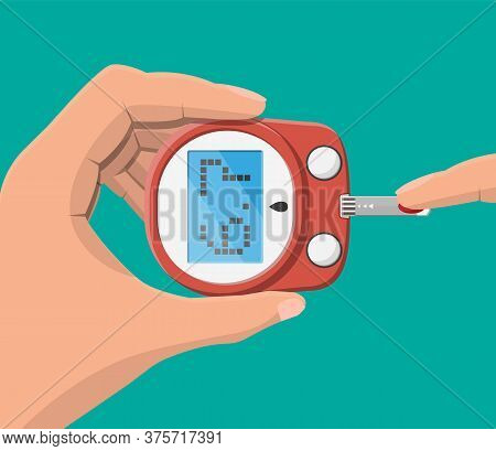 Testing Blood Glucose Concept. Glucometer, Test Strips In Hand. Test Equipment And Medicine. Healthc