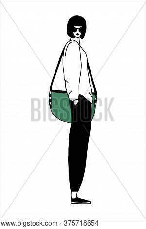 A Fashionable Girl In Sunglasses With A Bob Haircut And A Fashionable Bag.vector Illustration In A F