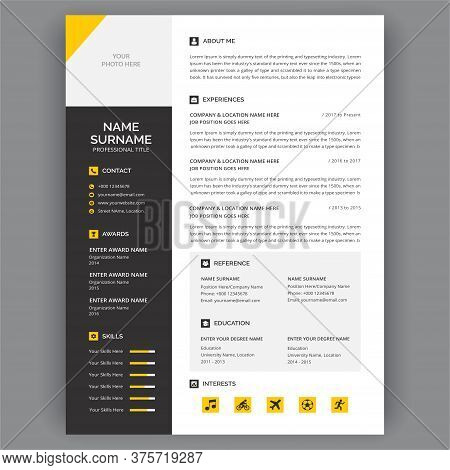 Stylish Yellow Cv Curriculum Vitae Template Design. Business Layout Vector For Job Applications. Cur