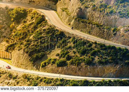 View From Granatilla Carboneras Viewpoint Of Hilly Landscape And Curved Road. Cabo De Gata Natural P