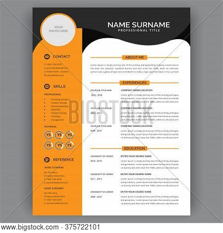 Yellow Cv / Resume Template. Stylish And Modern Professional Resume Cv Layout. Editable Curriculum V