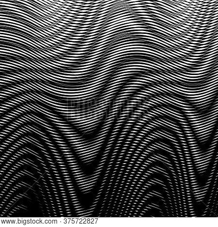 Monochrome Background With Fluidly Of Moire Effect Wavy Black And White Lines. Can Be Used As Vector