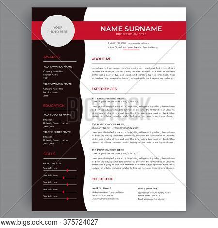 Personal  Resume Template Red And Black Design Sample. Cv Template, Vector Graphic Layout Illustrati