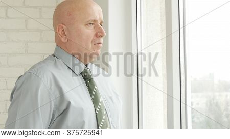 Businessman Presentation In Office Room, Businessperson Image Looking Out Of His Office Window