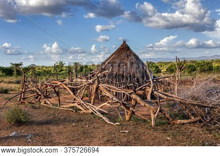 Cattle Pen In Hamar Village, The Hamar People Are A Primitive Tribe In South Ethiopia, Africa