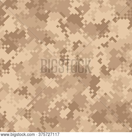 Seamless Digital Desert Pixel Camo Texture Vector For Army Textile Print