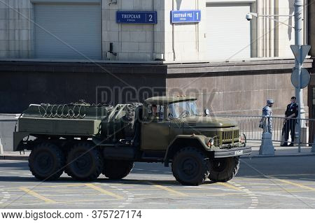 Moscow, Russia - June 24, 2020:auto-filling Station Ars-14 On The Basis Of Zil-131 On Okhotny Ryad D