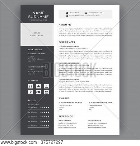 Professional Cv Resume Template Design. Vector Minimalist - Black And White - Business Work Hr Inter