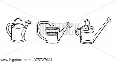 Collection Of Garden Watering Cans For Watering Plants.watering Can For Watering Plants. Gardening.