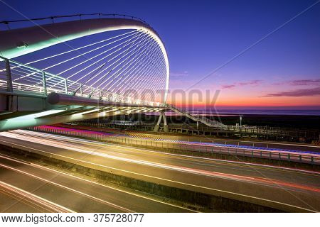 Night Scene Of Harp Bridge In Hsinchu, Taiwan