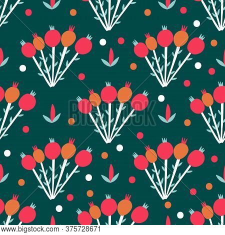 Seamless Pattern Plant Flower Abstract. Naive Hand Drawn Design. Ornament For Home Decor, Fabric, Te