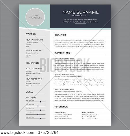 Cv Templates. Professional Cv / Resume Template Dark Gray And Blue Background Color Minimalist Vecto