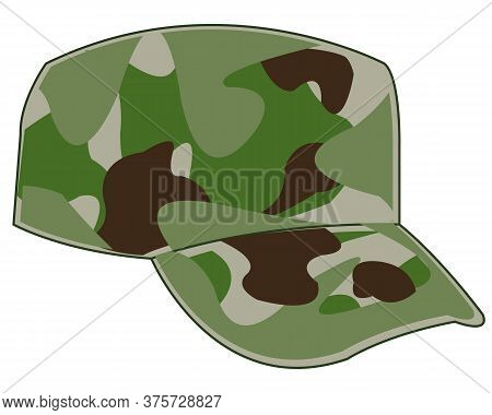Cap Military Camouflage On White Background Is Insulated
