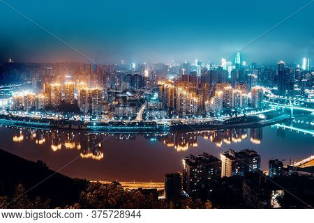 High-rise Mountain City Night, China's Western City Of Chongqing.