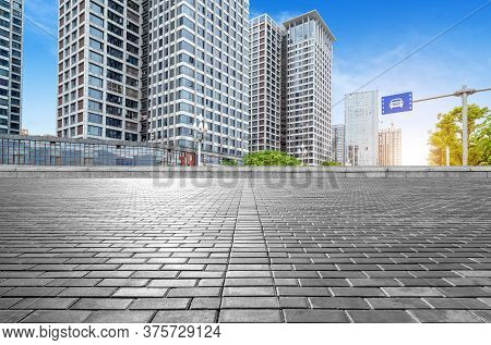 Marble Platform And Modern Building, Fuzhou, China.