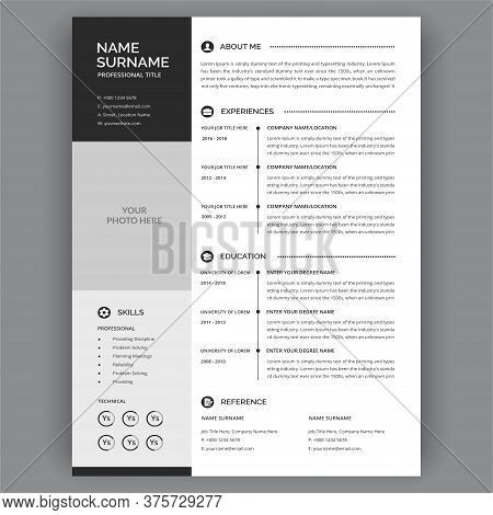 Professional Cv Resume Template Design. Business Corporate Creative Resume Design - Stylish Black An