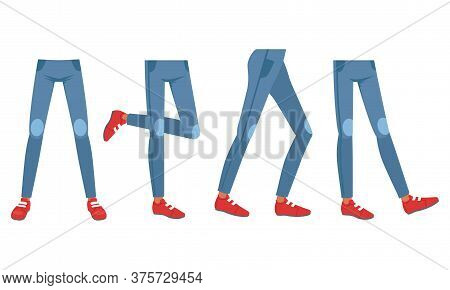 Different Views Of Human Legs In Jeans And Shoes, Male Or Female Body Part, Constructor For Animatio