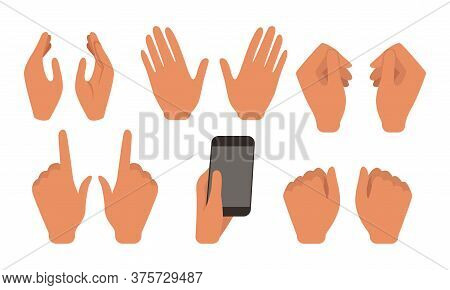 Human Hands Showing Different Gestures Set, Male Or Female Body Part, Constructor For Animation Cart