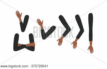 Human African American Sleeved Arms In Various Poses Set, Male Or Female Body Part, Constructor For