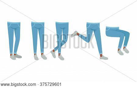Human Legs In Jeans And Shoes In Various Poses Set, Male Or Female Body Part, Constructor For Animat