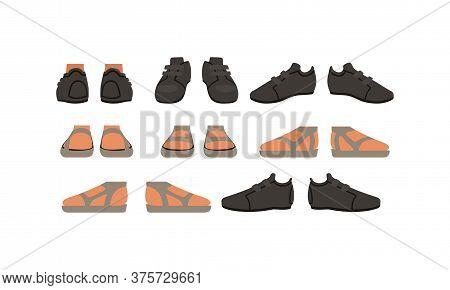 Footwear Set, Male Or Female Stylish Shoes Cartoon Style Vector Illustration