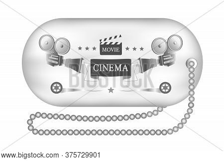 Vector Illustration. Retro Vintage Movie Ticket In Black And White. Banner, Template, Movie Theater