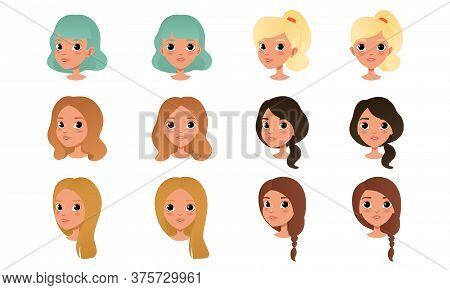 Heads Of Cute Girls Set, Beautiful Female Characters With Various Hairstyles Cartoon Style Vector Il