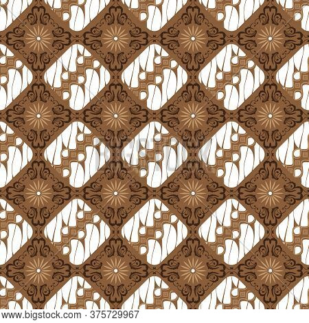 Simple Pattern Design On Kawung Batik With White Brown Color