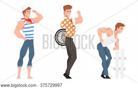 Stylish Handsome Men Set, Sexy Muscular Guys Posing In Fashion Clothes Cartoon Style Vector Illustra