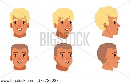 Male Heads Set, Smiling Caucasian Young Men Characters, Frontal, Profile, Three Quarter Turn View Ca