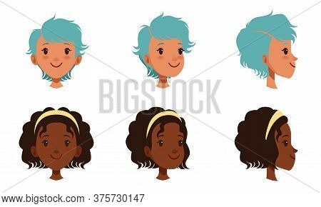 Female Heads Set, Frontal, Profile, Cheerful Caucasian And African American Teenage Girls Characters