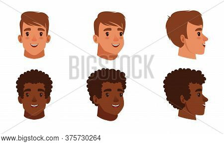 Male Heads Set, Frontal, Profile, Cheerful Caucasian And African American Teenage Boys Characters, T