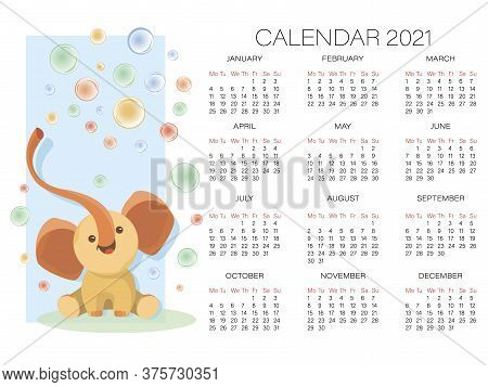 Elephant. Baby Calendar 2021. Vector Cartoon Character. Cute Elephant On A Background Of The Bubbles