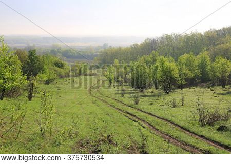 Morning landscape with dirt road in green valley