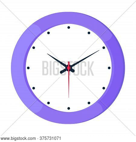 Analog Clock Face Flat Style Design Vector Illustration Icon Sign Isolated On White Background. Anal