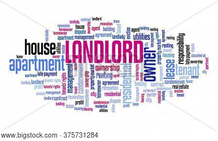 Landlord Concept. Real Estate Rent Issues: Landlord Word Cloud Sign.