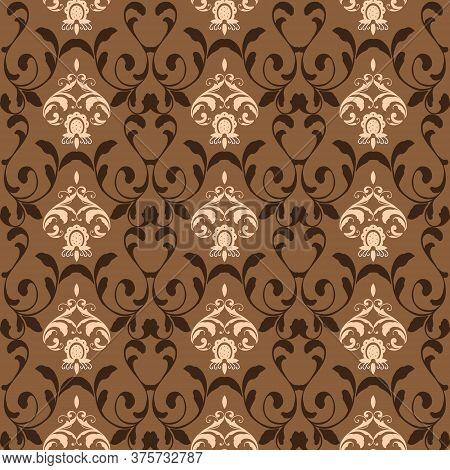 Beautiful Flower Motifs On Bantul Batik Design With Brown Color