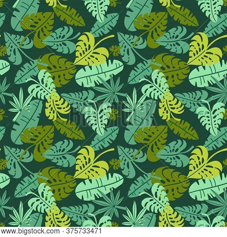 Abstract Jungle Print With Silhouettes Of Paradise Island Foliage. Vector Flat Seamless Floral Green